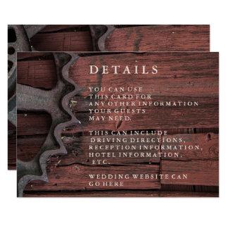 Carte détail rustique élégante de roues de pays carton d'invitation 8,89 cm x 12,70 cm
