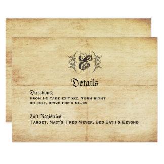 Carte détail vintage de mariage de conte de fées carton d'invitation 8,89 cm x 12,70 cm