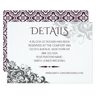 Carte DÉTAILS baroques de mariage de lustre de prune