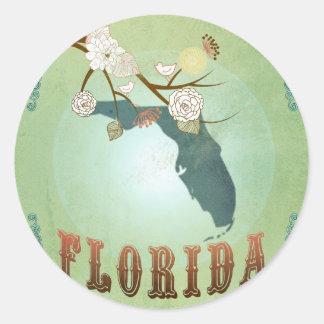 Carte d'état de la Floride - vert Sticker Rond