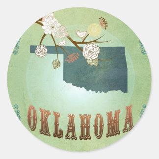 Carte d'état de l'Oklahoma - vert Sticker Rond