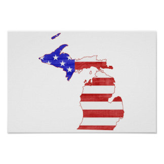 Carte d'état de silhouette de drapeau du Michigan Poster