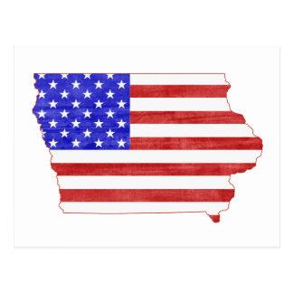 Carte d'état de silhouette de l'Iowa Etats-Unis Carte Postale