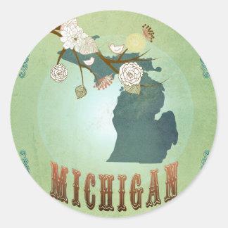 Carte d'État du Michigan - vert Sticker Rond