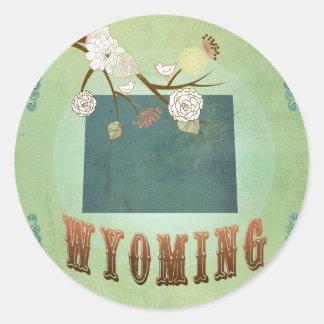 Carte d'état du Wyoming - vert Sticker Rond