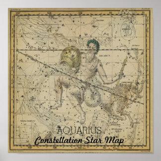 Carte d'étoile de constellation de Verseau janvier Poster