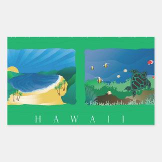 Carte d'Hawaï Oahu Autocollants Rectangulaires