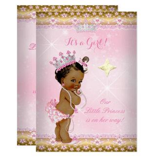 Carte Diadème de dentelle d'or de rose de princesse baby