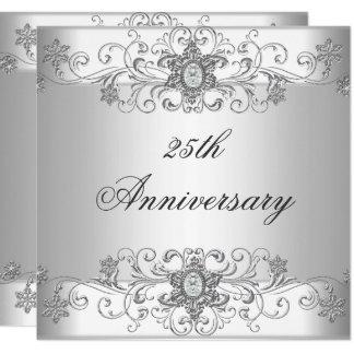 Carte Diamant blanc argenté de 25ème anniversaire