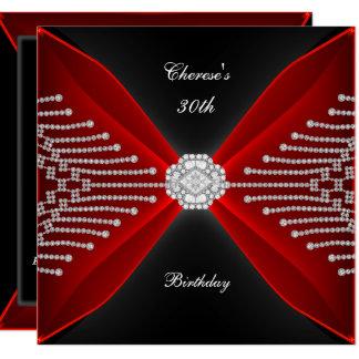 Carte Diamant noir de rouge riche de 30ème anniversaire