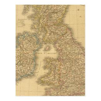 Carte d'îles britanniques cartes postales