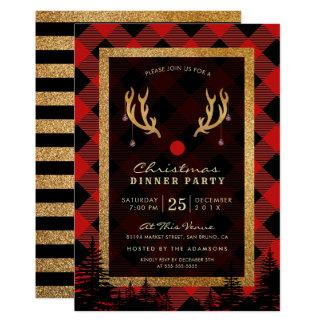Carte Dîner américain de Noël des andouillers de Rudolph