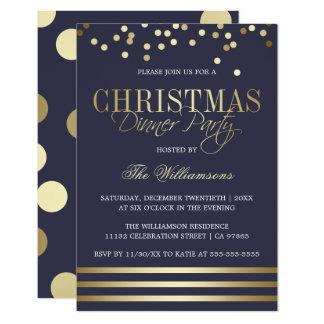 Carte Dîner bleu de Noël de rayure de confettis d'or