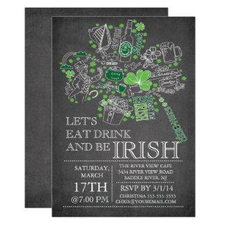 Carte Dîner de coup du jour de St Patrick de tableau