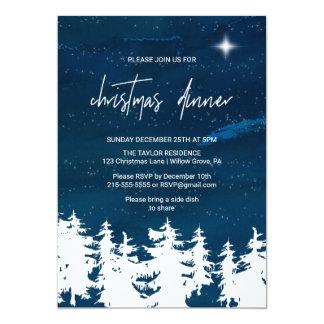 Carte Dîner de Noël de nuit étoilée