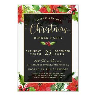 Carte Dîner de Noël de poinsettia d'aquarelle