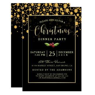 Carte Dîner de Noël fascinant de bulles de noir et d'or