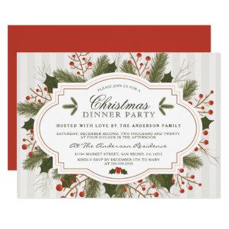 Carte Dîner élégant de Noël de sapin, de pin et de houx