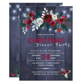 Carte Dîner floral de Noël d'hiver rustique de lumières