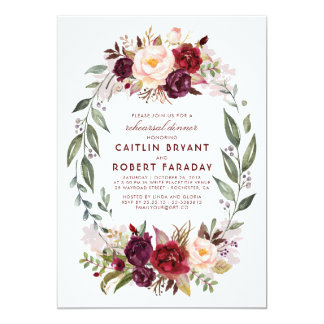 Carte Dîner floral de répétition de Bourgogne - de