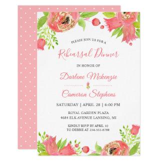 Carte Dîner floral rose de corail lumineux de répétition