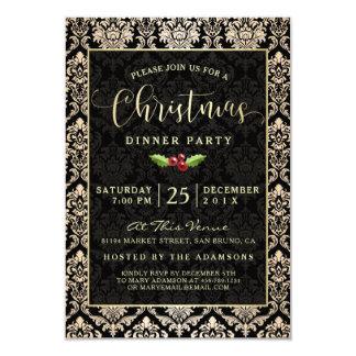 Carte Dîner moderne de Noël de damassé de noir et d'or