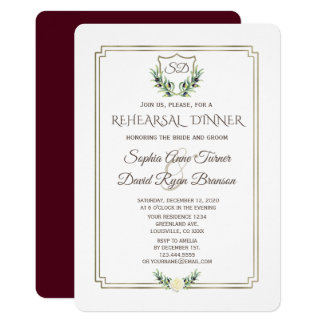 Carte Dîner royal de répétition de guirlande de laurier