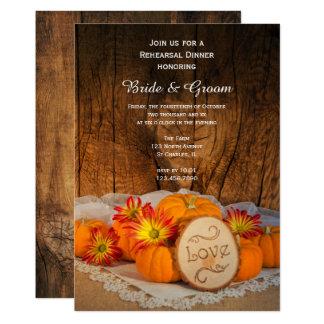 Carte Dîner rustique de répétition de mariage de automne