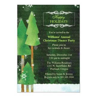 Carte Dîner vert de Noël d'arbres grands d'hiver