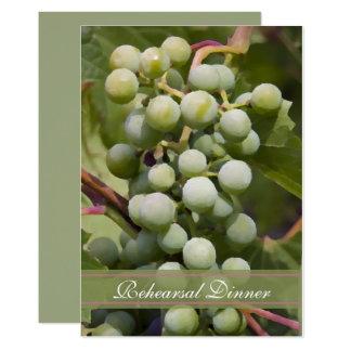 Carte Dîner vert de répétition de mariage de vignoble de