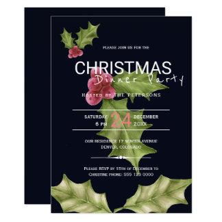 Carte Dîner vert rose de Noël de baies de houx
