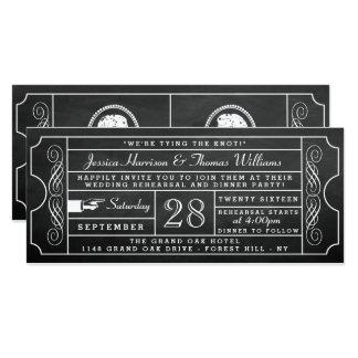 Carte Dîner vintage de répétition de mariage de billet