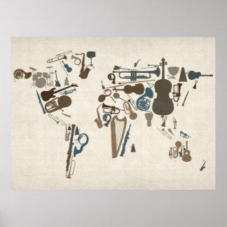 Carte d'instruments de musique du monde affiches