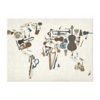Carte d'instruments de musique du monde toiles