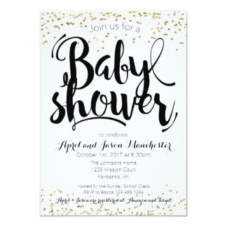 Carte d'invitation de baby shower, blanc noir et