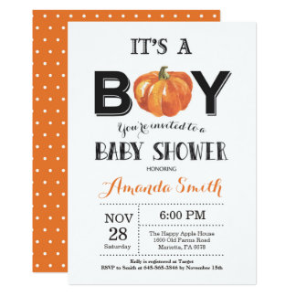 Carte d'invitation de baby shower d'automne de carton d'invitation  12,7 cm x 17,78 cm