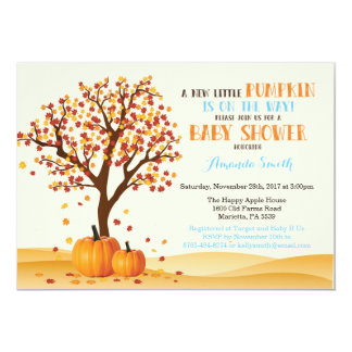 Carte d'invitation de baby shower de citrouille