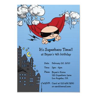 Carte d'invitation de fête d'anniversaire de super