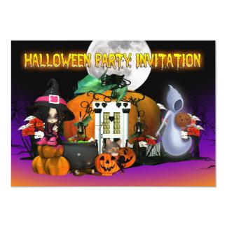 Carte d'invitation de Halloween - bande dessinée Carton D'invitation 12,7 Cm X 17,78 Cm