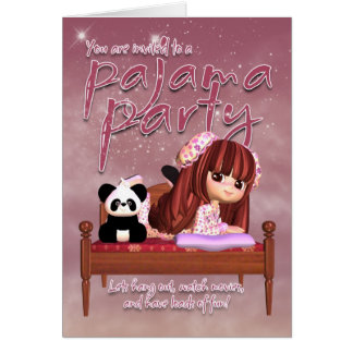 Carte d'invitation de partie de pyjama