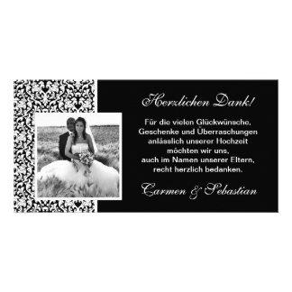 Carte dire de remerciement au mariage avec des éch photocartes