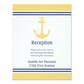 Carte Direction jaune de réception de mariage d'ancre de