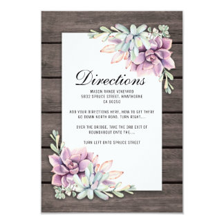 Carte Directions florales succulentes rustiques de