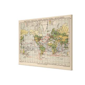 Carte d'itinéraires vintage de navigation du monde toile