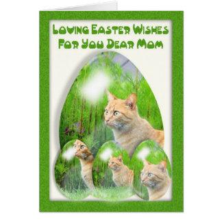 Carte d'oeuf de pâques, avec des chats, maman,