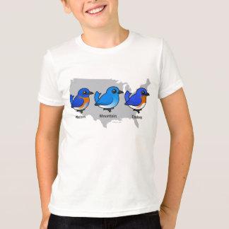 Carte d'oiseau bleu t-shirt