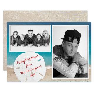 Carte Dollar de sable côtier de photo de famille de Noël