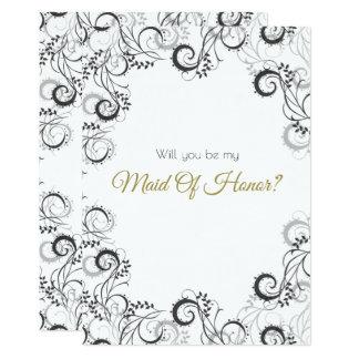 Carte Domestique d'honneur florale noire et blanche