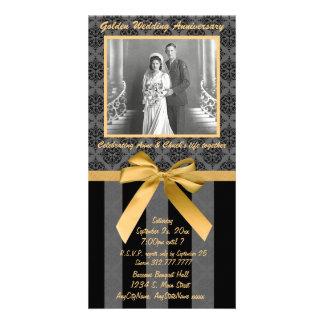 Carte d'or d'anniversaire de damassé noire et gris modèle pour photocarte