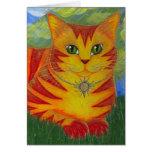Carte d'or d'art d'imaginaire de chat de Sun d'or